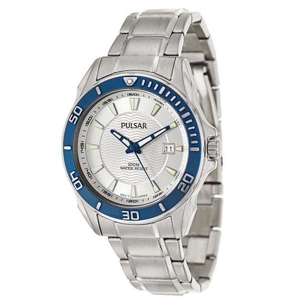 Pulsar Men's Active Sport Stainless Steel Blue Watch