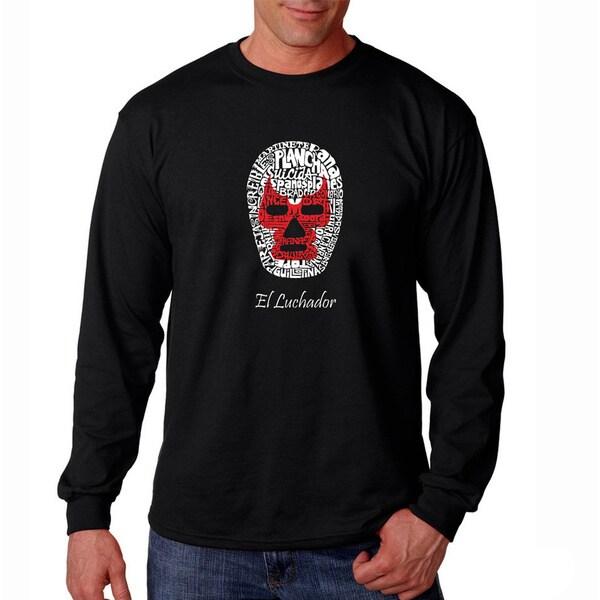 Los Angeles Pop Art Men's 'Luchador Wrestling Mask' Long Sleeve T-shirt