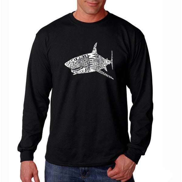 Los Angeles Pop Art Men's 'Shark Names' Long Sleeve T-shirt