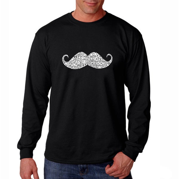 Los Angeles Pop Art Men's 'Moustache' Black Long Sleeve T-shirt