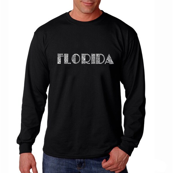Los Angeles Pop Art Men's 'Florida Cities' Black Long Sleeve T-shirt