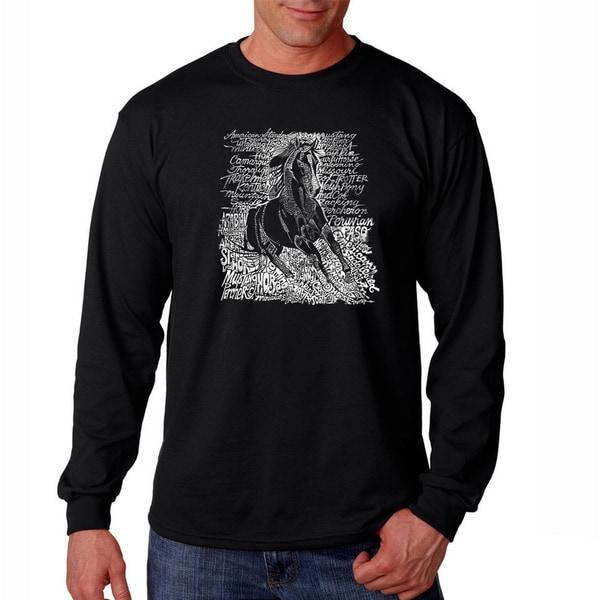 Los Angeles Pop Art Men's 'Horse Breeds' Long Sleeve T-shirt