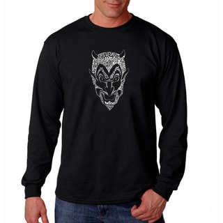 Los Angeles Pop Art Men's 'Devil' Black Long Sleeve T-shirt