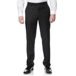 Nicole Miller Men's Charcoal Suit Separate Trim-fit Pants