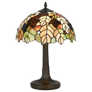 1-light Antique Brass Tiffany Glass Accent Lamp