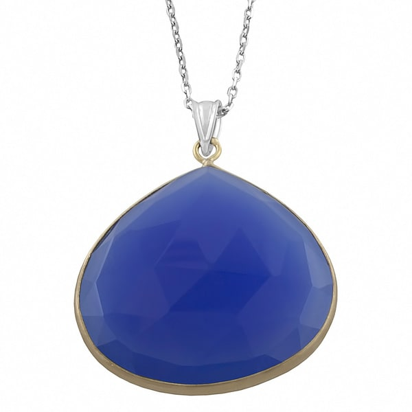 Fremada Sterling Silver Synthetic Blue Quartz Necklace