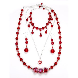Siam Red Crystal 4-piece Wedding Jewelry Set