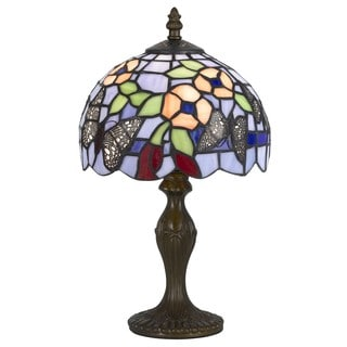 1-light Antique Brass Butterfly Pattern Tiffany Accent Lamp