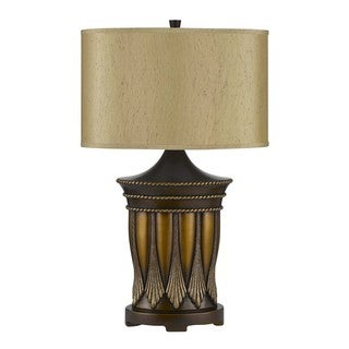 Aroka 3-light 3-way Antique Rubbed Brass Resin Table Lamp