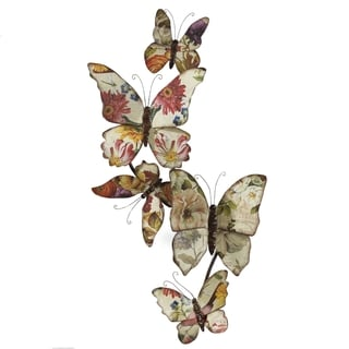Elements Floral Butterflies Vertical Wall Decor