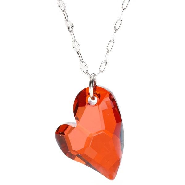 La Preciosa Sterling Silver Red Heart Necklace