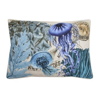 French Coastal Jelly Fish Rectangular Feather Fill Throw Pillow