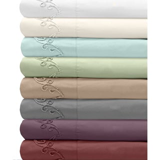 Grand Luxe 500 Thread Count Egyptian Cotton Deep Pocket Sheet Set with Chenille Embroidered Scroll Design