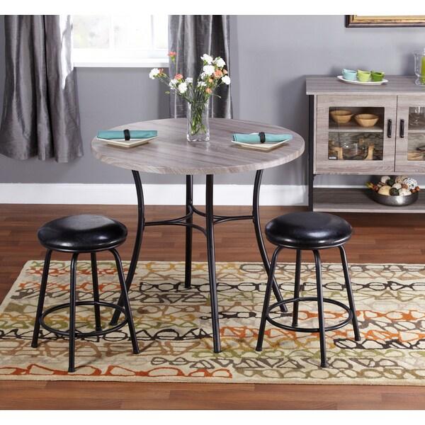 Simple Living Seneca Black/ Grey Adjustable Height 3-piece Dining Set
