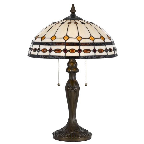 Cal Lighting Tiffany 2-light Antique Brass Tiffany Table Lamp