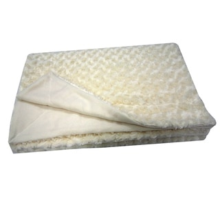 Roberto Amee Sculpted Ivory Faux Fur Blanket