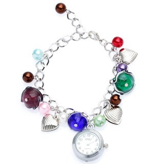 La Preciosa Silvertone Crystal and Glass Watch Charm Bracelet