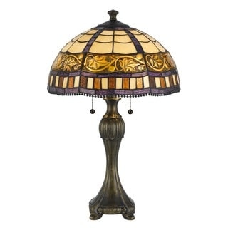 Cal Lighting Tiffany Leaf 2-light Antique Brass Table Lamp