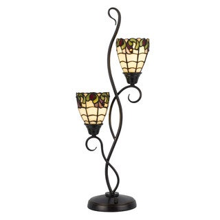 Cal Lighting Tiffany Uplight 2-light Dark Bronze Table Lamp