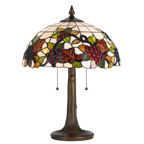 Cal Lighting Tiffany Grapes 2-light Antique Brass Table Lamp