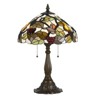 Cal Lighting Tiffany Orange Bird 2-light Antique Brass Table Lamp