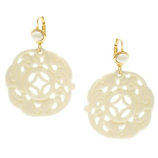 Kenneth Jay Lane Goldtone/ Ivory Resin Filigree Dangle Earrings