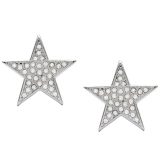 Kenneth Jay Lane Silvertone Crystal Star Clip-on Earrings