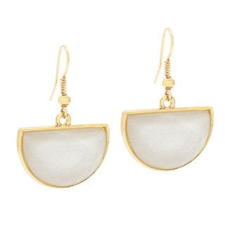 Kenneth Jay Lane Goldtone/ White Half-moon Dangle Earrings