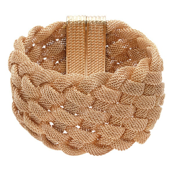 Kenneth Jay Lane Yellow Goldtone Basket-weave Wide Bangle Bracelet