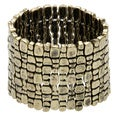 Kenneth Jay Lane Antiqued Goldtone Textured Stretch Bracelet