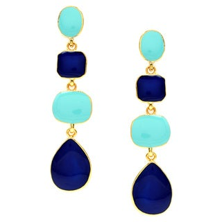 Kenneth Jay Lane Blue/ Turquoise Goldtone Dangle Earrings