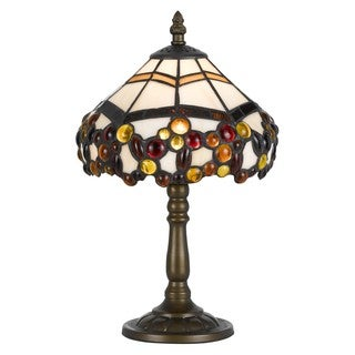 Cal Lighting Tiffany Jeweled 1-light Antique Brass Accent Lamp