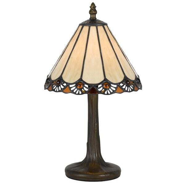 cal lighting tiffany slope 1 light antique brass accent lamp. Black Bedroom Furniture Sets. Home Design Ideas