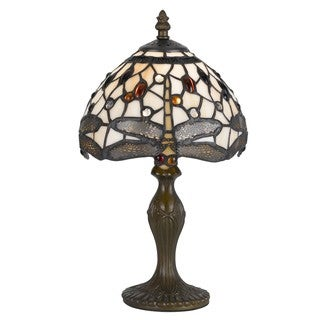 Cal Lighting Tiffany Grey Dragonfly 1-light Antique Brass Accent Lamp
