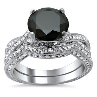 14k White Gold 3 1/2ct TDW Black Diamond Criss Cross Bridal Set (VS1-VS2)