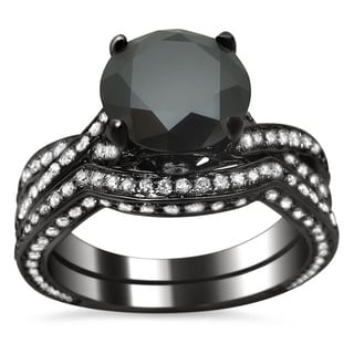 14k Black Gold 3 3/5ct TDW Black Diamond Criss Cross Bridal Set (VS1-VS2)