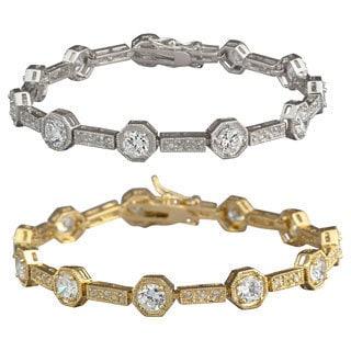 Nexte Jewelry Silvertone or Goldtone Ra Tennis Bracelet