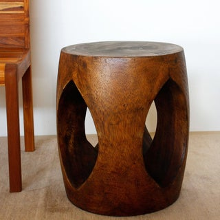 Hand-crafted Open-window Acacia Wood Accent Table (Thailand)