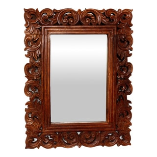 Vine and Leaf 25x32-inch Natural Stain Mirror (Thailand)