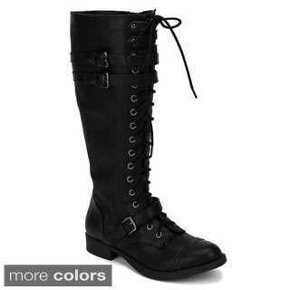 Soda Women's 'Ahoy-S' Buckled Lace-up Riding Boots