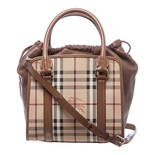Burberry 'Dinton' Small Beige and Camel Haymarket Tote