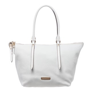 Burberry 'Salisbury' Small White Grainy Leather Tote