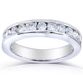 Annello 14k White Gold 1.5ct TDW Round Channel-Set Diamond Band (G-H, SI1-SI2)