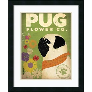 Stephen Fowler Pug Flower Co. Framed Art Print 18 x 22-inch