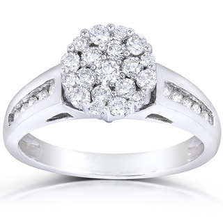 Annello 14k White Gold 3/4ct TDW Multi Stone Round Diamond Ring (H-I, I1-I2)
