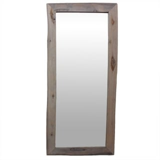 Hand-crafted Antique White Reclaimed Teak Wood Full-length Mirror (Thailand)