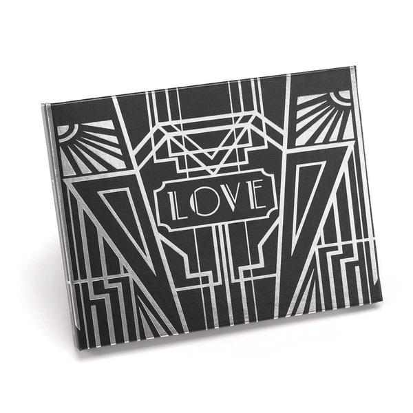 Hortense B. Hewitt Art Deco Black/ Silver Foil Guest Book