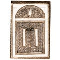 Hand-carved White Bone Double Door Wall Mirror (Morocco)