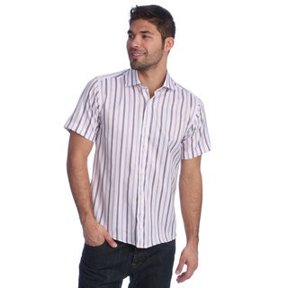 Men's Slim Fit Purple/ White Striped Short Sleeve Shirt