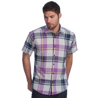Men's Slim Fit Purple Plaid Short Sleeve Button-down Shirt